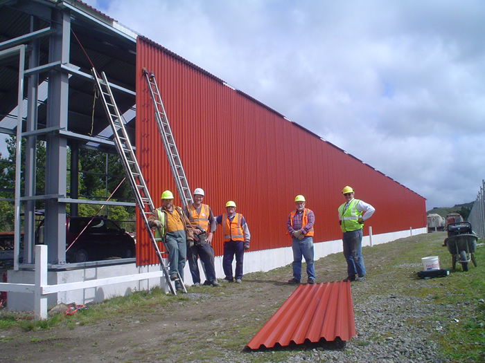 Some of the team working on the rail vehicle shed