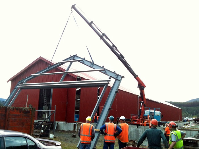First workshop portal frames lifted into position