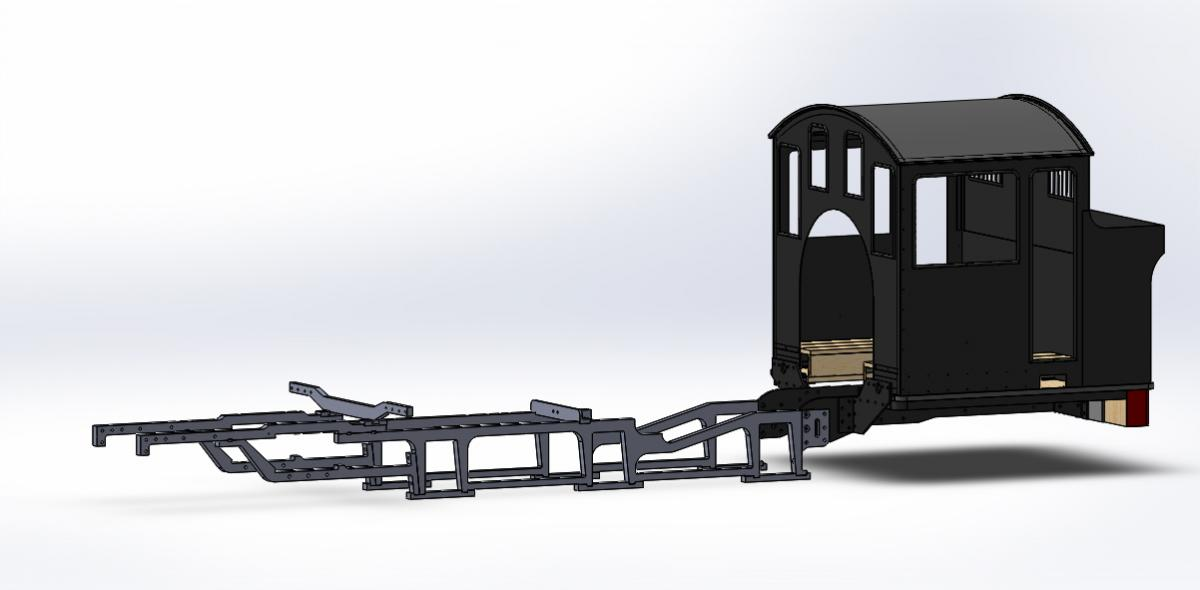 CAD drawing of Wb locomotive frames with cab and bunker assemblies in place