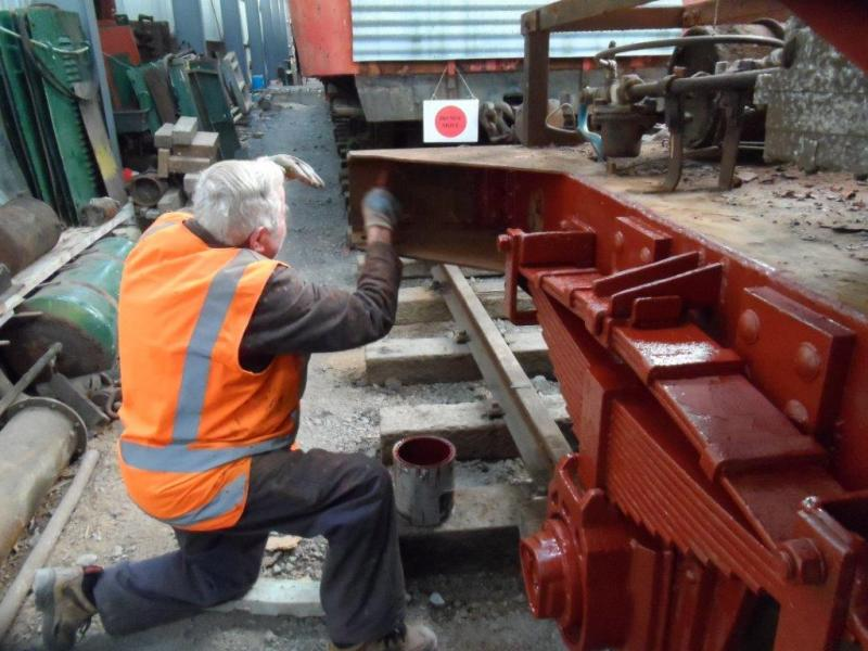 Trust member Ron Jones busy with painting ballast wagon Yc825