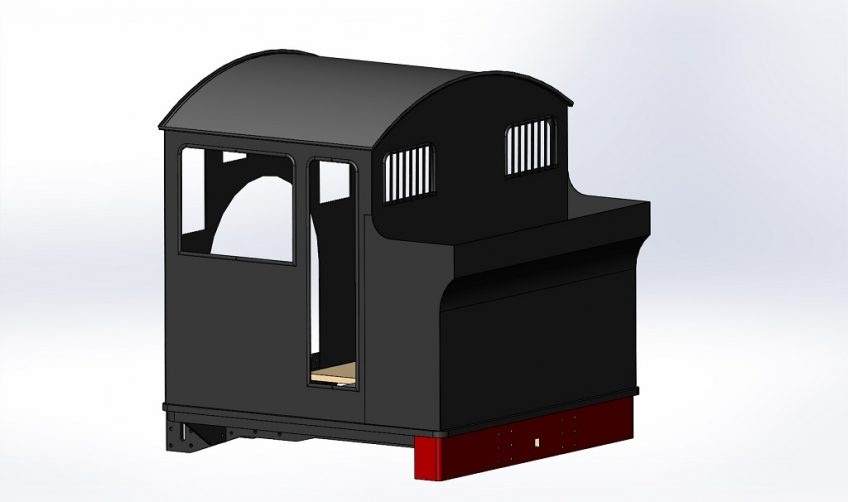 CAD model of cab and bunker, rear 3/4 view