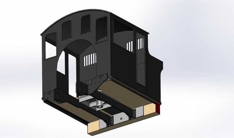 Another view of the CAD model - underside of cab showing the plate frame extensions, sub-frame and cab board.