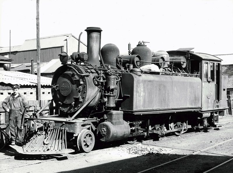 Driver Gibby Anderson poses with Wb 299 at Westport loco depot, November 1952
