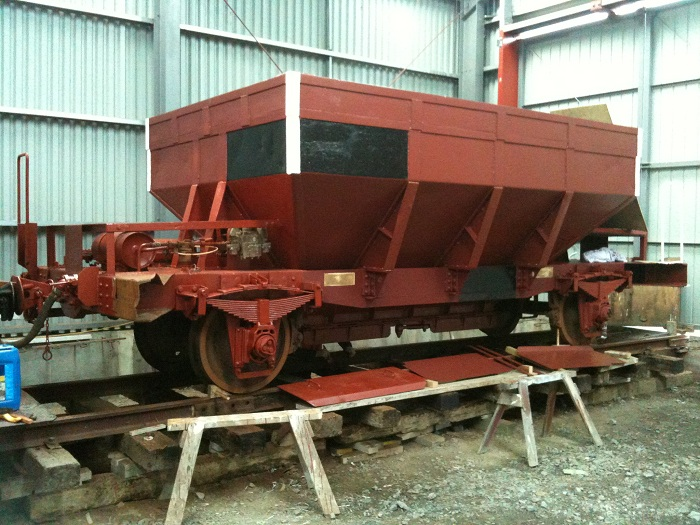 Yc 817 under repaint inside the rail vehicle shed, Maymorn