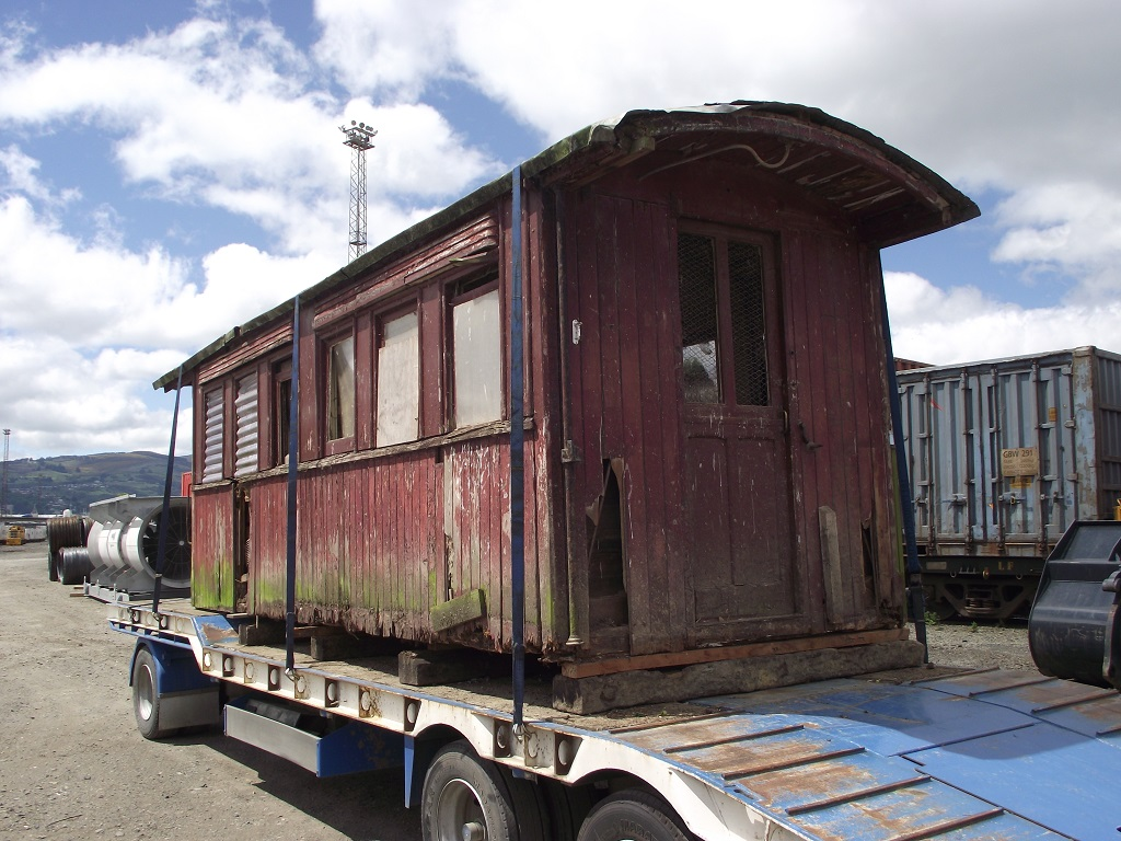The first half of Gumdigger carriage A255 in transit at Dunedin in December 2014. Photo: Clark McCarthy.