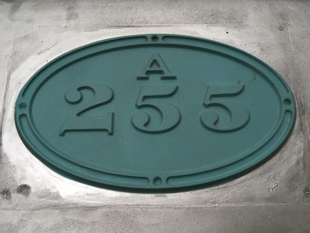 A 255 number plate pattern