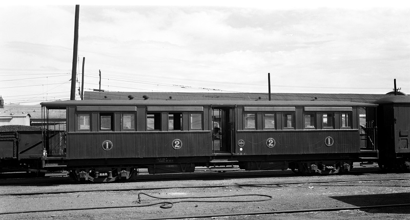 Gumdigger carriage A255 at Christchurch on 27 January 1950, near the end of its revenue-earning service.