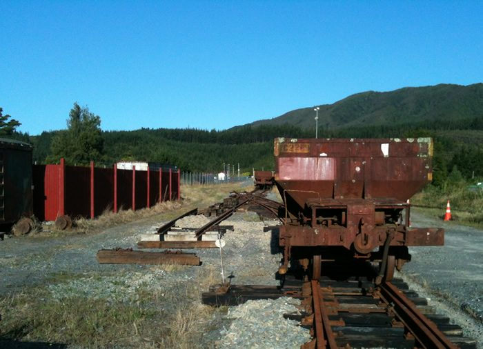 Ballast wagon Yc2289 standing on yard track on 5 January 2013.