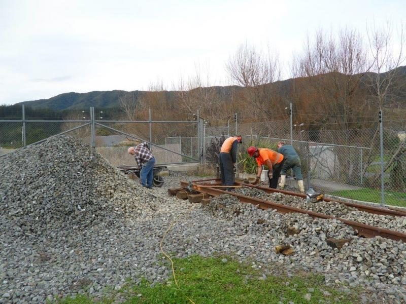Another view of work in progress, fastening rail down to sleepers and ballasting. Photo:Glenn Fitzgerald.