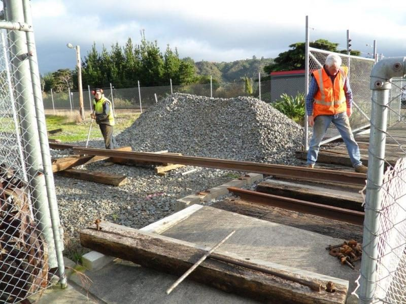 On 6 July rail was installed into the crossing, with temporary short rails swapped out. Photo:Glenn Fitzgerald.