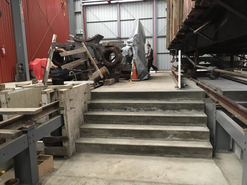 Concrete steps leading into the inspection pits at Upper Hutt end of the shed