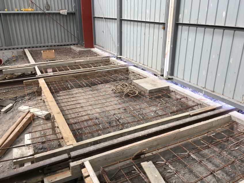 Form work in place for floor slabs at Kaitoke end of the shed