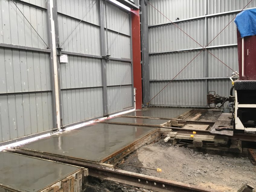 Concrete floor slabs cast and finished off