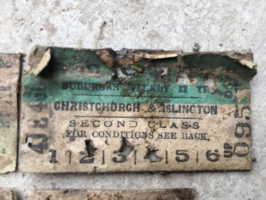 One of a handful of suburban train tickets found in the carriage walls during cleaning out.