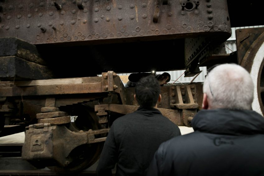 Checking out the firebox of the boiler on steam locomotive Ab 745