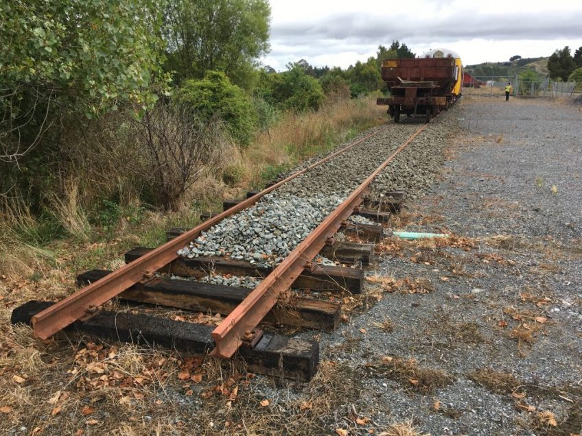 Track ballasted at end of mainline