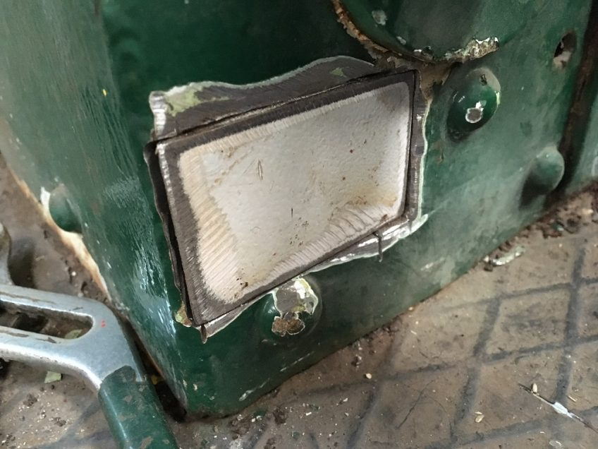 Patch on driver's side of cab