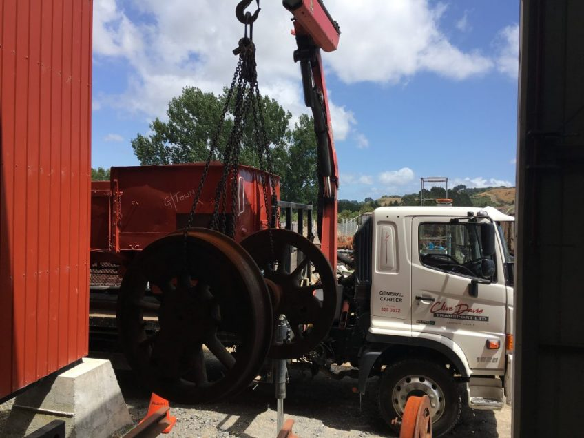 Driving wheel delivered by wagon en route to Greytown
