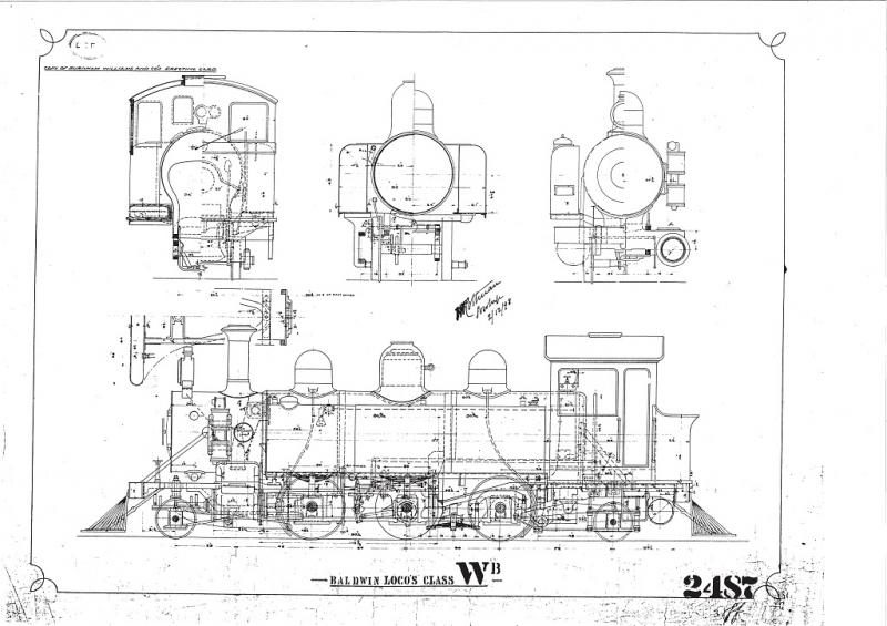 General arrangement drawing for the Baldwin Wb class locomotive - reference made to this for key details for the cab