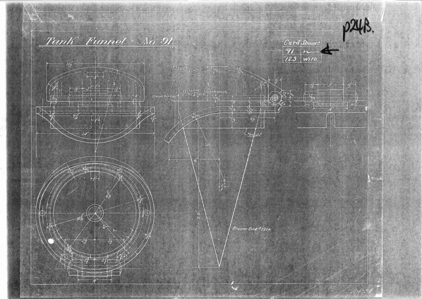 Tank funnel drawing - Baldwin Locomotive Works