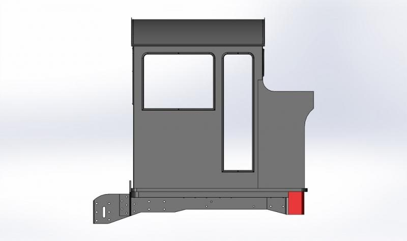 Cab, bunker, headstock and plate frame extensions modelled in CAD.